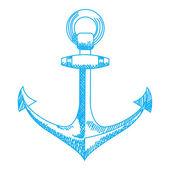 Anchor icon. Nautical vector isolated white, blue — Stock Vector