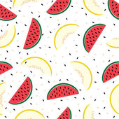 Slices of watermelon and cantaloupe, seamless pattern. — Stock Vector