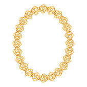 Gold chain, rose - oval frame on a white background. — Stock Vector