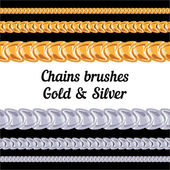 Chains metal brushes - gold and silver. — Stock Vector
