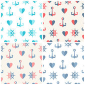 Navy vector seamless patterns set anchor, steering wheels and hearts — Stock Vector
