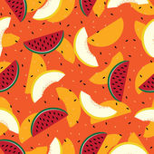 Slices of watermelon and cantaloupe, seamless pattern. — Stok Vektör