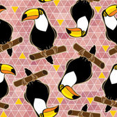 Seamless exotic brazil toucan bird background pattern in vector. — Stock Vector