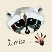 Card with a raccoon - I miss. Vector illustration. — Stock Vector