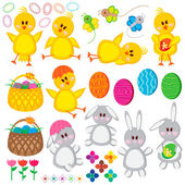 Set of Easter elements for your design. — Stock Vector