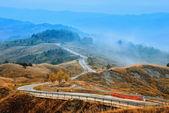 долина с туманом — Стоковое фото