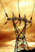 Clouds over high-voltage pylon — Foto Stock