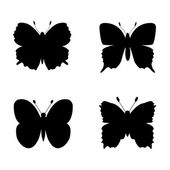 Butterfly silhouettes — Stock Vector