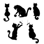 Five cat's silhouettes — 图库矢量图片