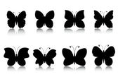 Butterflies silhouettes set — Stock Vector