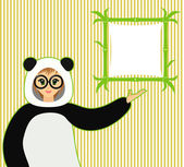 Vector illustration of cute girl in panda suit and bamboo textboard — Vettoriale Stock