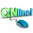 Computer mouse and text 'online' — Stock Photo #51181053