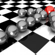 Grey arrow of the balls with the red leader in front — Stock Photo #51183687