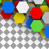 Hexagonal cards. polygonal blank background. — Stock Photo