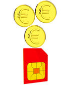 Coins and sim card — Stock Photo