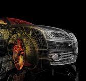 3d auto-modell auf einem schwarzen hintergrund. — Stockfoto
