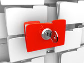 Protecting the Data, folder and lock — Stock Photo