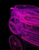 3d bilmodell på en svart bakgrund. — Stockfoto