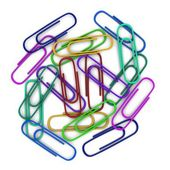 Colorful paper clips scattered in a chaotic manner. — Stock Photo