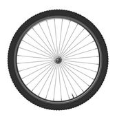 Bicycle wheel, isolated on white background. — Stock Photo