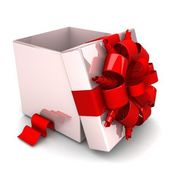 Gift box with ribbon — Stockfoto