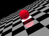 Ball on checkered background — Stock Photo
