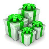 Renkli bir şerit ile hediye kutuları — Stok fotoğraf