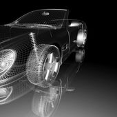 Car 3d model on a black background. — Photo