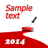 Paint roller and red paint stripe. — Stock Photo