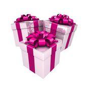 Cajas de regalo, con una cinta colorida — Foto de Stock