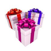 Boîtes de cadeau avec ruban — Photo