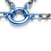 3d chain chrome green cross security metal. illustration of a single chain link — Stock Photo