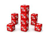 Red boxes with percent on it — Stock Photo