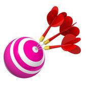 Darts in bullseye. — Stock Photo