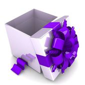 Opened gift box, with a ribbon — Foto de Stock