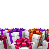 Gift boxes, with a colorful ribbon — Stock Photo