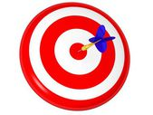 Business and Sports concept with 3d darts in bullseye — Stock Photo