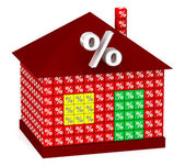 Red House with percentage — Stock Photo