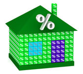 Green House with percentage — Stock Photo