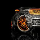 Araba 3d model siyah bir arka plan. — Stok fotoğraf