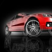 Car 3d model on a black background. — Stock Photo
