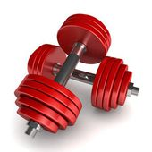 Two red dumbbells — Stock Photo