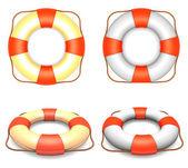 Lifebuoys set with rope — Stock Photo