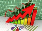 Graph percent going up. — Stock Photo