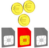 Coins and sim cards — Stock Photo