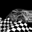 Car with flag. 3d car model on a black background. — Stock Photo #51247049