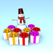 Snowman with beautiful gifts. — Stockfoto
