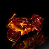 Motorcycle fire. 3d model motorcycle — Stock Photo