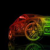 3d car model on a black background — Stock Photo