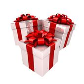 ギフト用の箱、プレゼントのようなカラフルなリボンで. — ストック写真